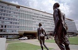 Outside the World Health Organization headquarters in Geneva, a statue of a child leading a blind man commemorates the agency's work to wipe out river blindness, a disease that is endemic in parts of Central Africa. The statue was donated by the drug company Merck.