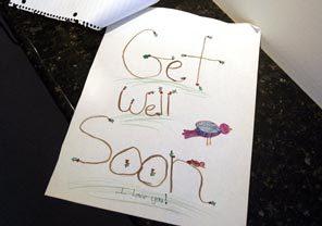 "Nadra McSherry's grandchildren made her this ""get well"" card."