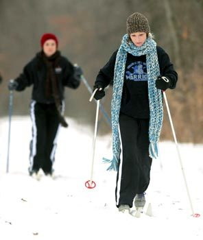 Rachel White skis near Independence Township, Mich. The sport is a great way to stay in shape during the winter.