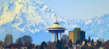 Seattle space needle and mountains