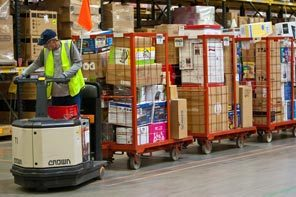 Amazon employees use many methods of transportation to move products and orders through the West Phoenix fulfillment center.