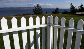 There's a view of Admiralty Inlet and Whidbey Island from a vacation rental, once the home of Fort Flagler's engineer, where a volunteer recently repainted a picket fence.