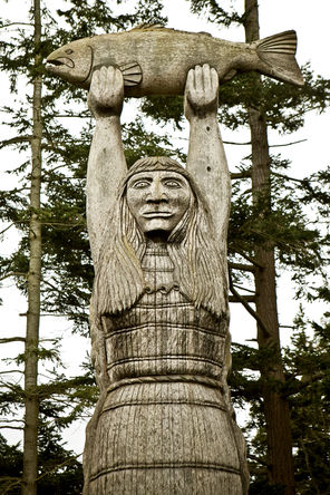 """The Maiden of Deception Pass,"" by Fidalgo Island artist Tracy Powell, was made for the Samish people and raised in 1983. The carving can be seen at Rosario Beach."