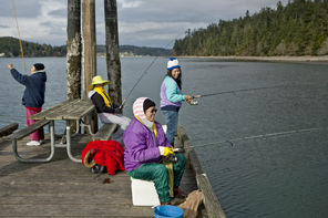Fishing off the docks in Cornet Bay at Deception Pass State Park.