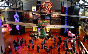 "The Museum of History & Industry's new home on Lake Union features the famous Rainier Beer ""R"" and Boeing's first plane, the B-1 seaplane."