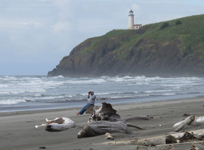 Cape Disappointment State Park includes the wave-battered Benson Beach. The park's North Head Lighthouse sits on a bluff above it.