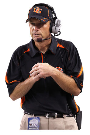 ARLINGTON, TX - SEPTEMBER 04: Head coach Mike Riley of the Oregon State Beavers on the sidelines during play against the TCU Horned Frogs at Cowboys Stadium on September 4, 2010 in Arlington, Texas. (Photo by Ronald Martinez/Getty Images) -- Staff