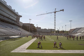 "Construction is ongoing around Martin Stadium. ""This is going to be a construction zone this fall,"" said Washington State athletic director Bill Moos."