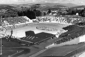 How things have changed. This is a 1952 view of Rogers Field on the campus of Washington State. The grandstands burned down in 1970 and the field was replaced with Martin Stadium.
