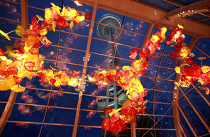 A 100-foot-long sculpture inside the Glasshouse at Chihuly Garden and Glass.  There is also a garden featuring the renowned Northwest artist's work, a cafe and a gift shop.
