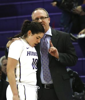 Freshman guard Kelsey Plum, getting a pointer from UW coach Mike Neighbors, played 39 minutes in the Huskies' 81-71 win, hitting 18 of 19 free throws.