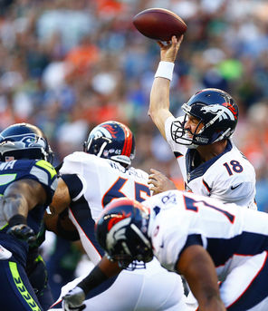 "Denver's Peyton Manning throws   against the Seahawks in an August exhibition game. ""I think you take something away from every experience,"" coach John Fox said."