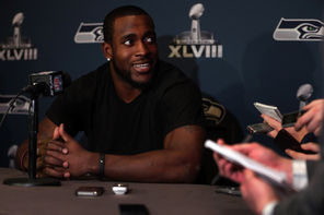 Seahawks safety Kam Chancellor answers questions Monday at the team's hotel in Jersey City, N.J. Last offseason Chancellor received a $35 million contract extension.