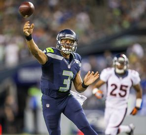 Russell Wilson had 127 yards passing with two touchdowns and no interceptions in the   Seahawks' exhibition game against the Broncos last August.