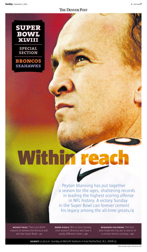The cover of The Denver Post's Super Bowl preview section features quarterback Peyton Manning.