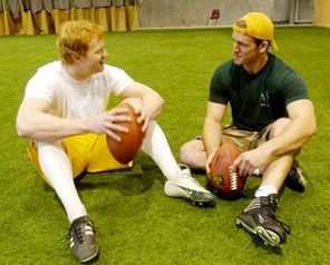 John Ryan, left,  working out with Terry Young in Regina in 2007. Ryan was playing for Green Bay at the time.