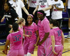 From left, Jazmine Davis, Mercedes Wetmore, Aminah Williams, Chantel Osahor and Kelsey Plum were fired up about a 10-point lead in the second half. But the Cardinal rallied in the last minute, forcing the Huskies to hang on for their biggest win since beating second-ranked Stanford in 1990.