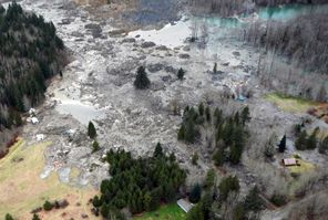 This photo made available by the state Department of Transportation shows a view of the damage from Saturday's mudslide near Oso, Snohomish County. At least 14 people were killed in the 1-square-mile slide that struck Saturday. Officials said they have received 176 reports of people missing.