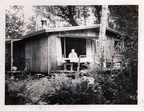 This photo, from the early 1960s, shows Carl Burgeson at his cabin at Steelhead Haven.