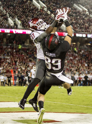 Stanford's Devon Cajuste (89) comes down with this pass while battling WSU's  Sulaiman Hameed, but he wasn't able to stay in bounds on the play.