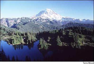 Mount Rainier over Eunice Lake